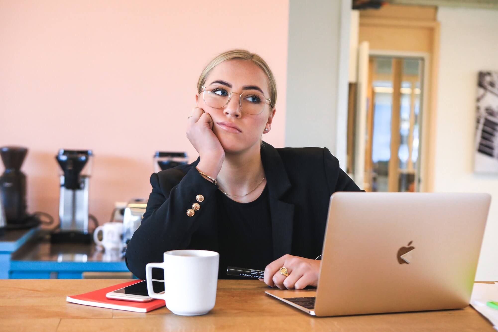 woman tired in office