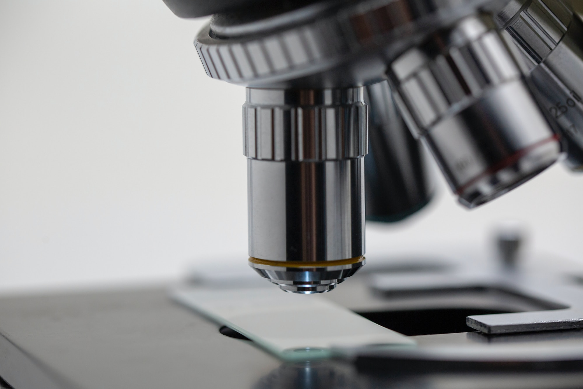 Closeup of microscope lens