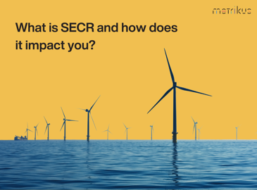 Wind turbines in water with a yellow background. Text at the top reads 'What is SECR and how does it impact you?'