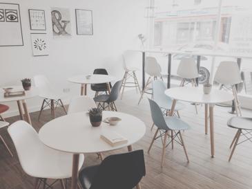 Modern open plan working cafe