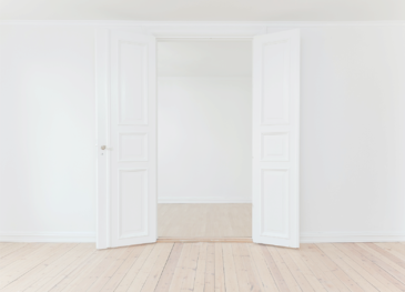 open white double doors